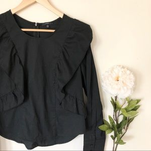 Anthropologie | Drew Black Long Sleeve Ruffle Top